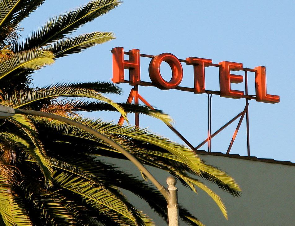 neon sign for a hotel