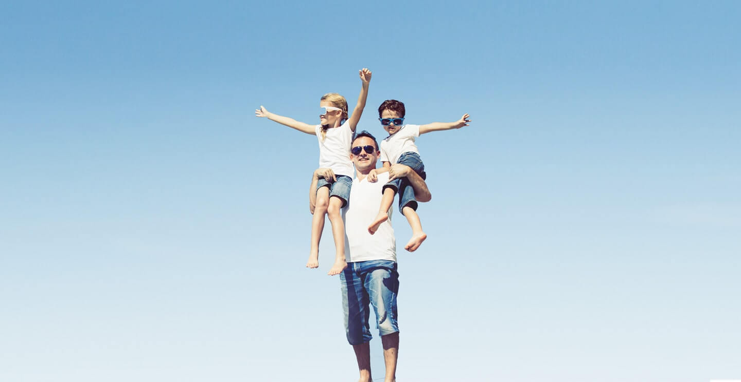 Father with his children background